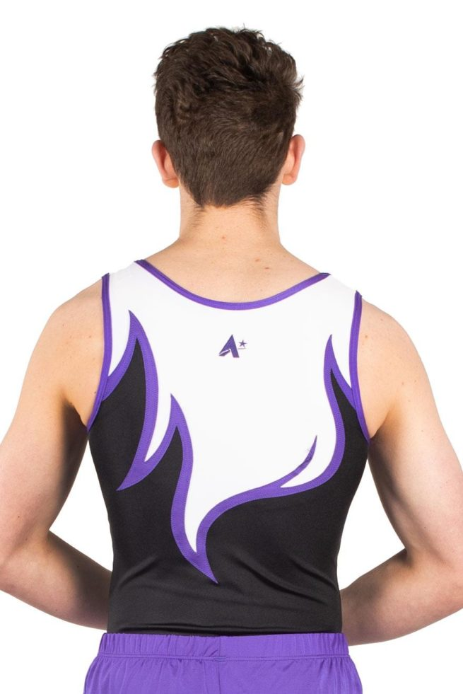 ARCHIE BV416 Black and purple boys leotard for gymnastics back
