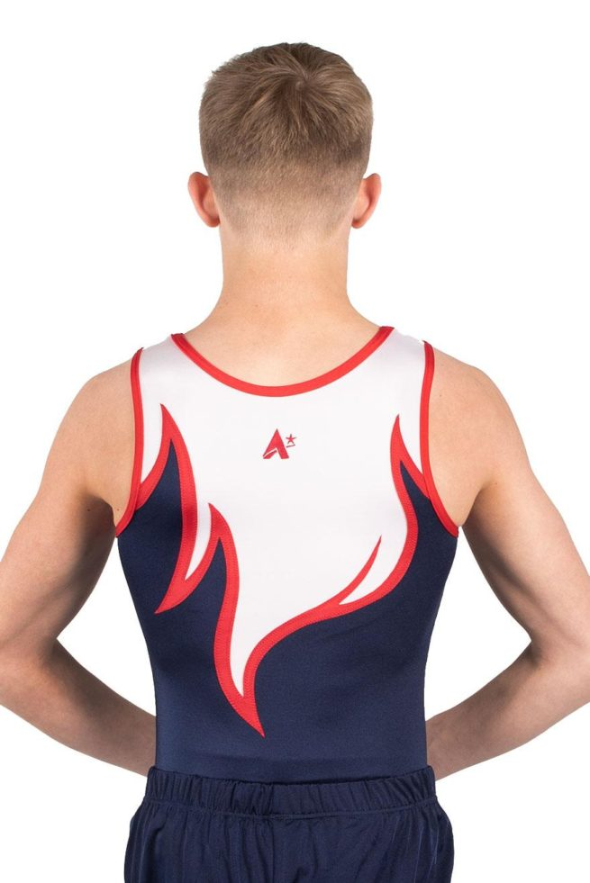 ARCHIE BV416 red white blue boys leotard for gymnastics back