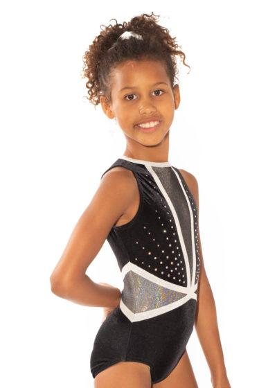 ASHLEY Z433 Black velour and mesh leotard with diamante side