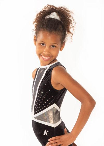 ASHLEY Z433 Black velour and mesh leotard with diamante side1