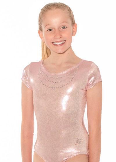 Adalynn SS539 Lollipop pink leotard with diamante front