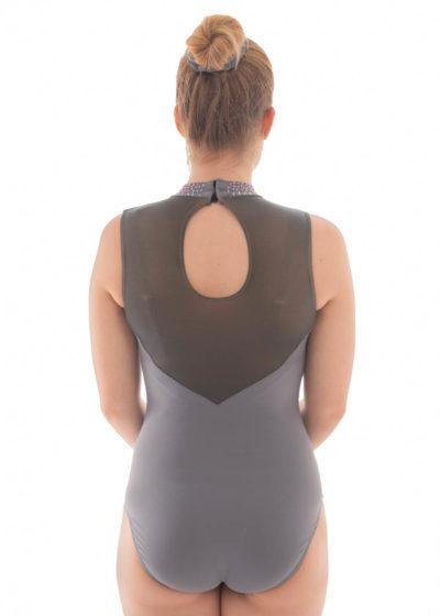 Alvia Z435 Grey leotard with collar and mesh back