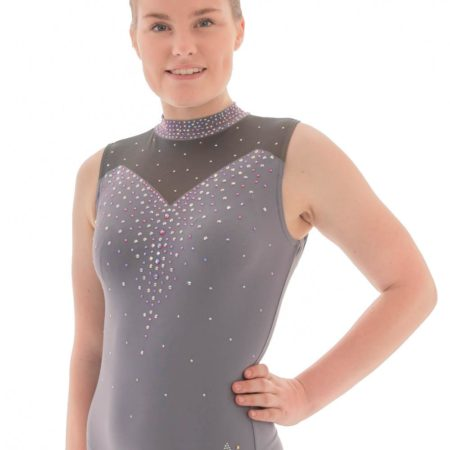 Alvia Z435 Grey leotard with collar and mesh side