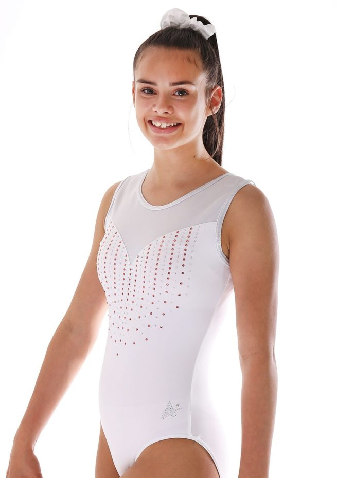 Amberly Z440 White lycra leotard with mesh and orange diamante side