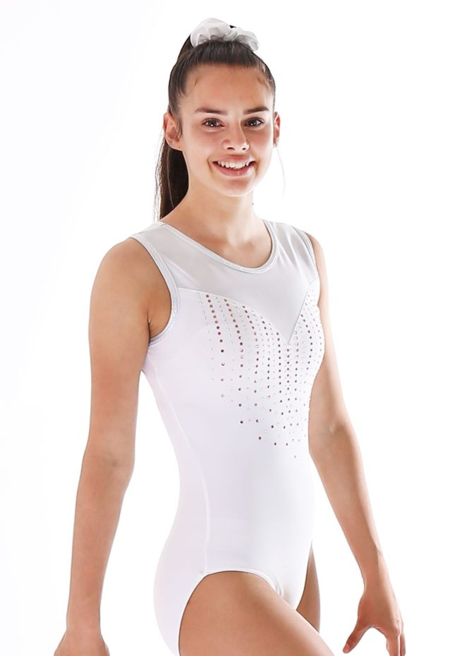 Amberly Z440 White lycra leotard with mesh and orange diamante side1