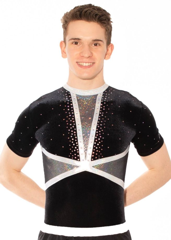 BSA433 Ashley acro leotard mens black front