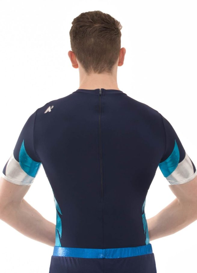 BSA478 Wren navy male acro leotard back