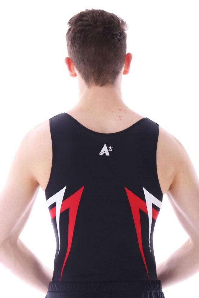 BVA6 james black red and white boys pointy gymnastics leotard back