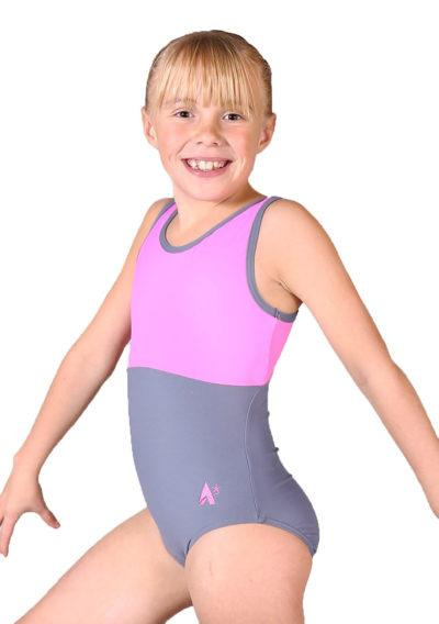 CARLA Z420 Pink and grey named personalised leotard side