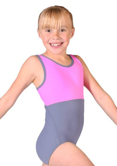 CARLA Z420 Pink and grey named personalised leotard side1