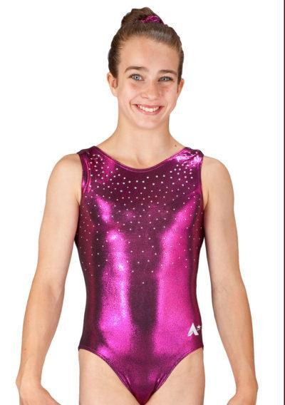 CLAIRE SPS35 D20AB Blackberry shimmer gym leotard with diamante front