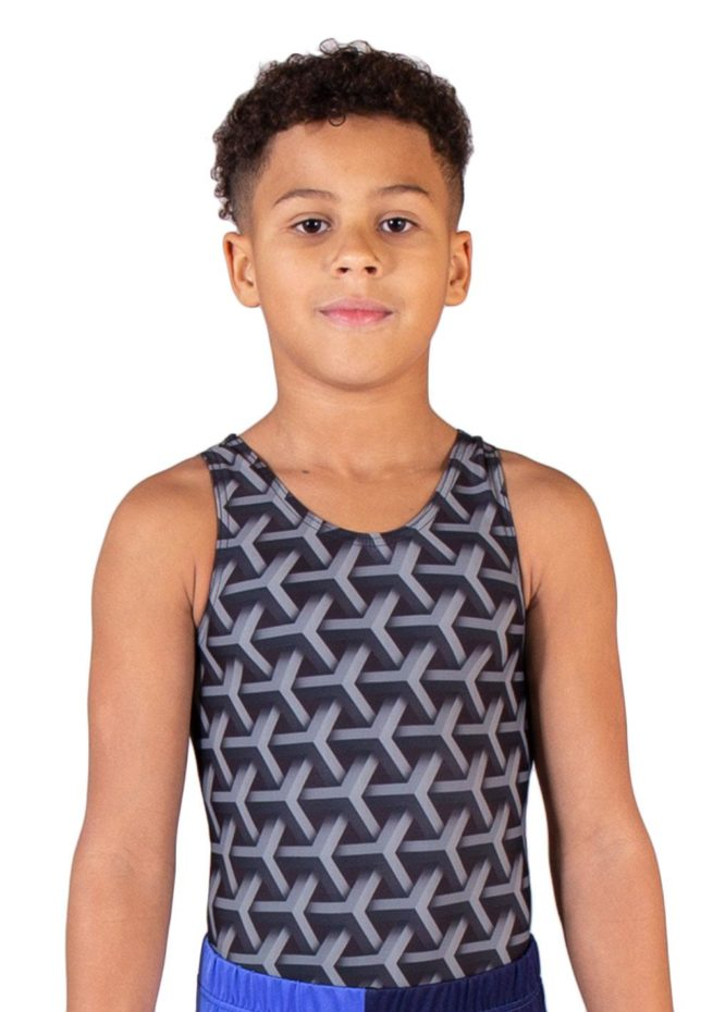 CUBOID BV L123 Grey patterned boys leotard front