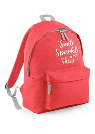 Coral backpack with silver print gym back