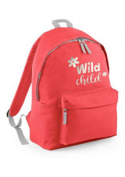 Coral backpack with wild child print