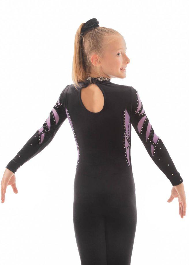 ELISE CS230 Black and purple mesh catsuit back