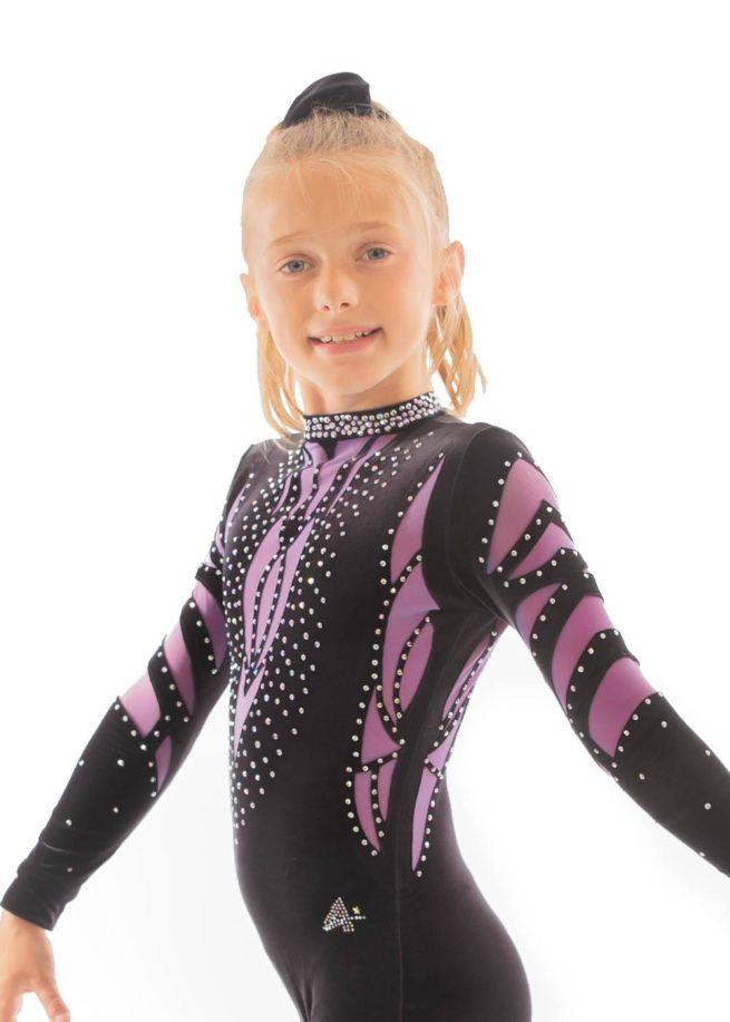 ELISE CS230 Black and purple mesh catsuit side 2