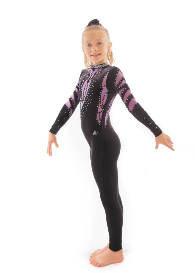 ELISE CS230 Black and purple mesh catsuit side