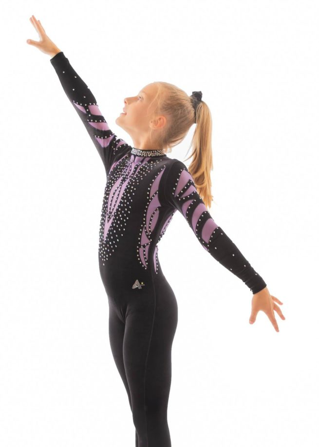 ELISE CS230 Black and purple mesh catsuit side1