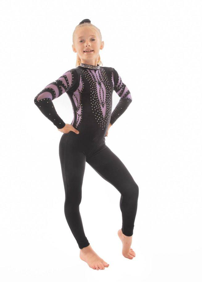 ELISE CS230 Black and purple mesh catsuit side2