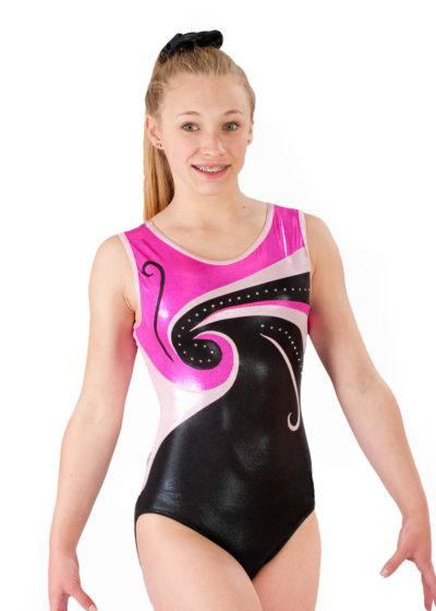 EMILY Z77 Black and pink shimmer sleeveless gymnastics leotard front