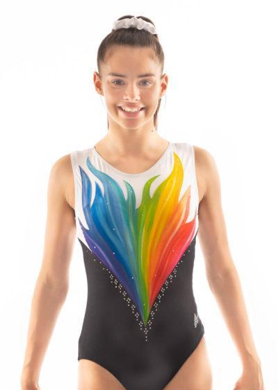 ERIKA HP Z343 Hand painted multi coloured flame leotard front