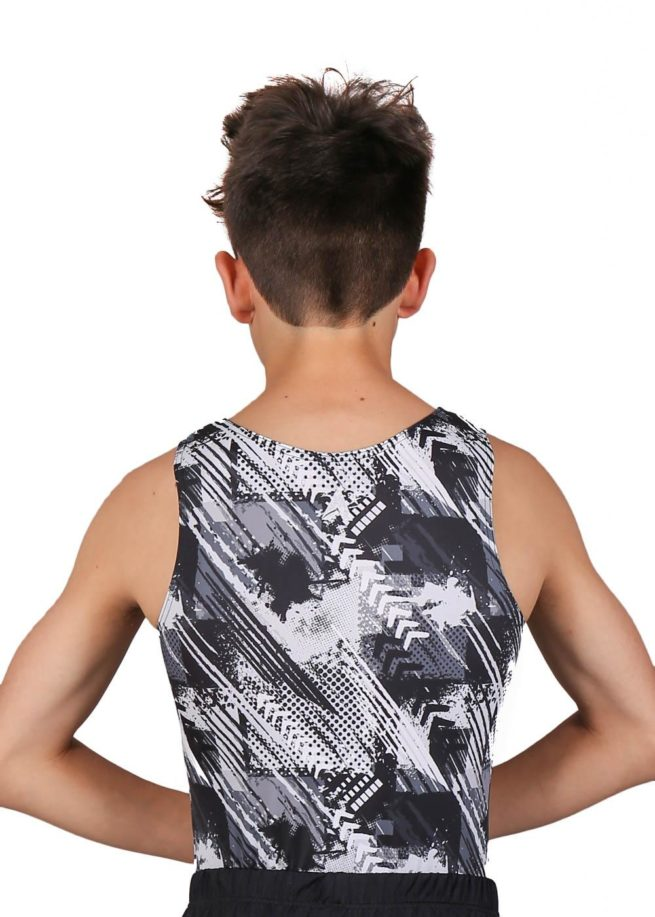 FIERCE BV L155 Black white patterned boys gym leotard back
