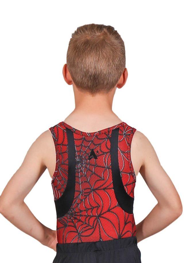 FINLEY BV8 Red pattern boys gym leotard back