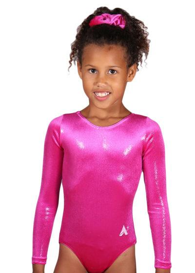 FS05 Lipstick shimmer velour sleeved leotard front