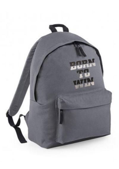 Grey backpack with motivational print