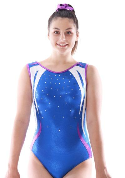 Henley blue and white leotard with diamante front