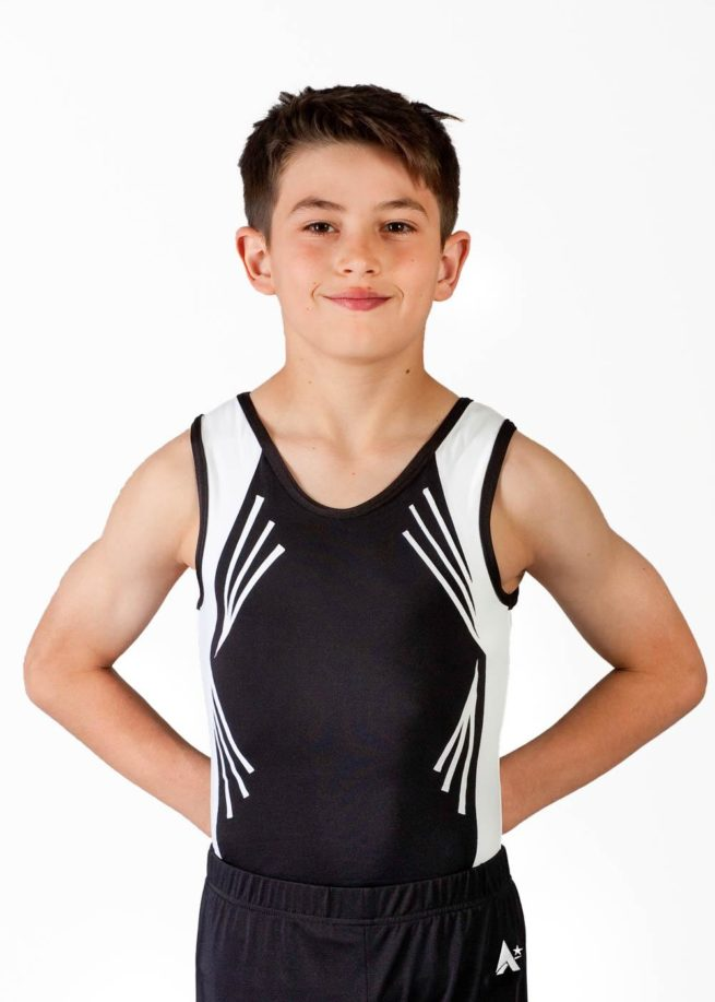 JOSH BV105 Black and white leotard lines front