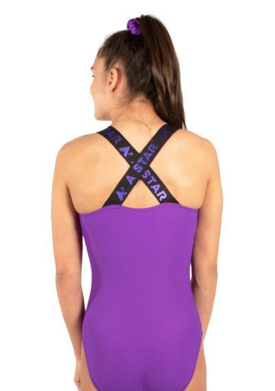KYLA Elastic back purple gym leotard back