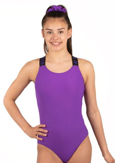 KYLA Elastic back purple gym leotard front