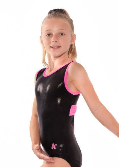 KYLIE Z507 Black and pink open back leotard side