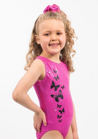 LAYLA SP S05D53 Pink lycra leotard with butterfly print front