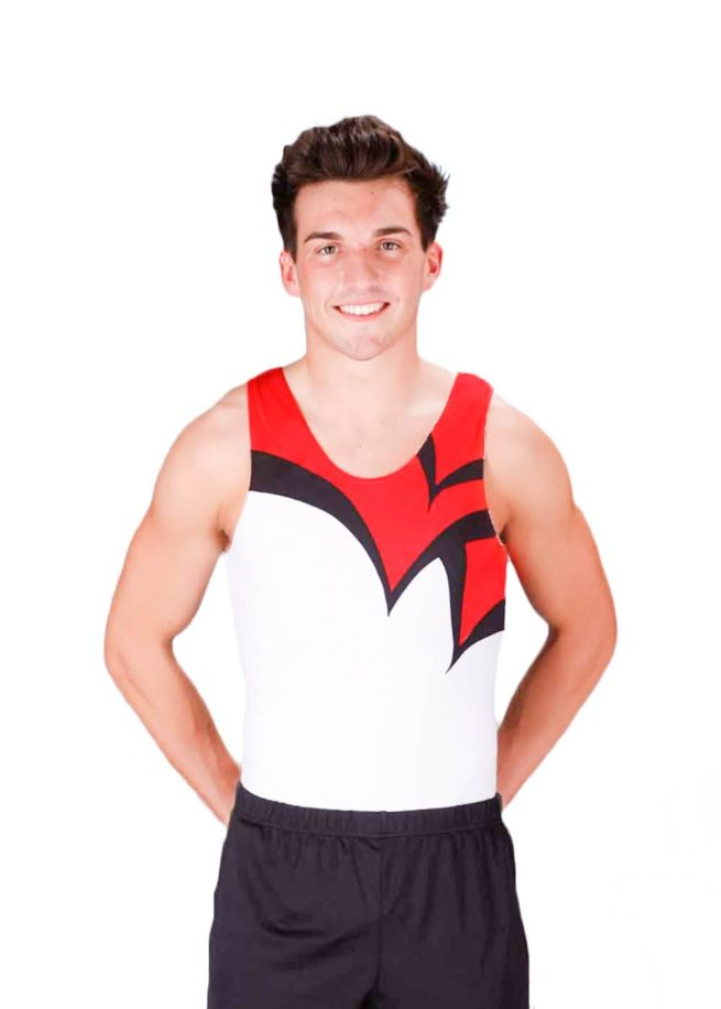 LOGAN BVZ12 White red black boys gym leotard front