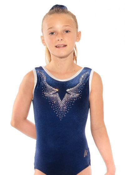 LULA D43 Navy velour sleeveless leotard with diamante front
