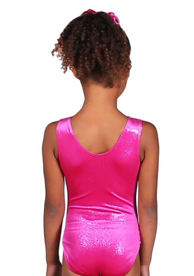 Lipstick pink shimmer velour girls gymnastics training leotard back