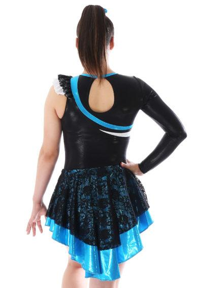 MAJ463 Blue and Black Lace majorette dress skirted leotard back