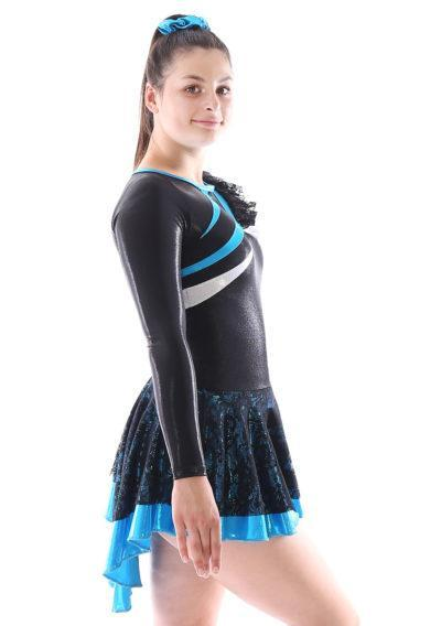 MAJ463 Blue and Black Lace majorette dress skirted leotard side
