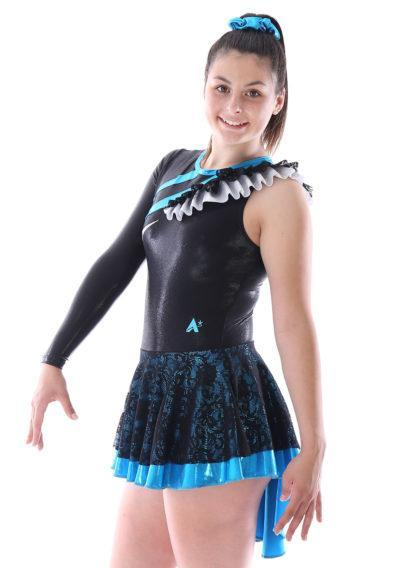 MAJ463 Blue and Black Lace majorette dress skirted leotard side1