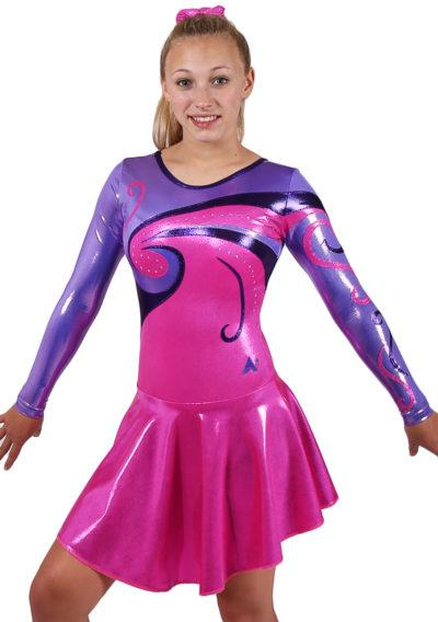 MAJ77 Purple and pink skirts majorette leotard front