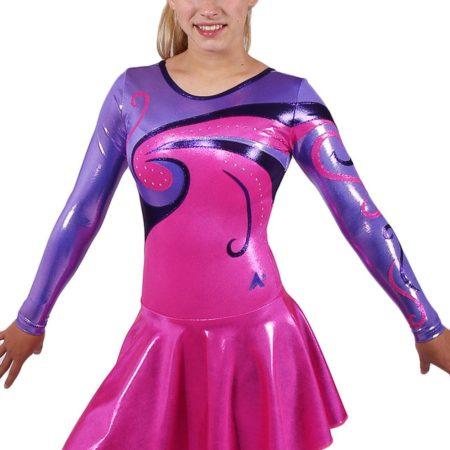 MAJ77 Purple and pink skirts majorette leotard front