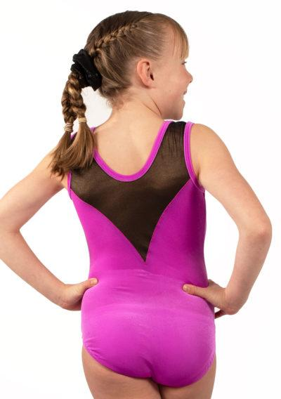 MARELLA Z437 Pink velour leotard with mesh and diamante back