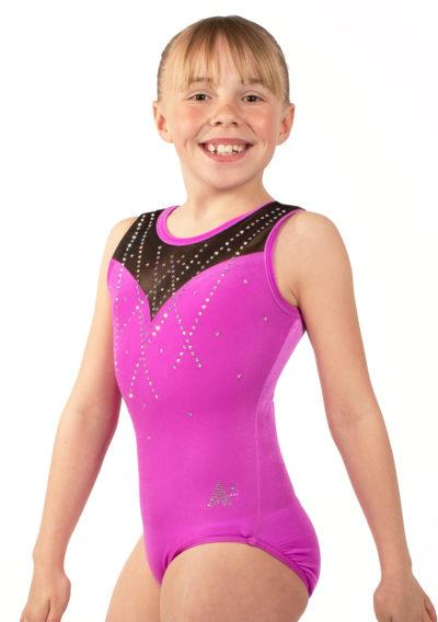 MARELLA Z437 Pink velour leotard with mesh and diamante side
