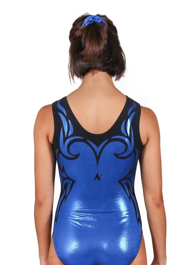 MARIE Z323 Sapphire blue shimmer trampoline leotard back