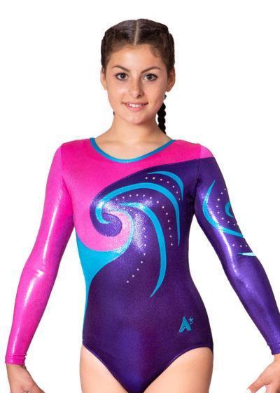 MAYA K237 Girls purple competition leotard front