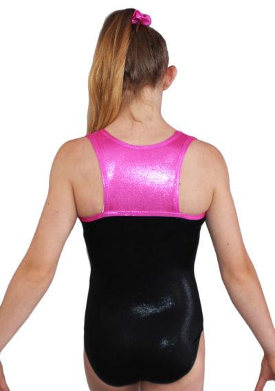 MILLIE Z156 Black and Pink Shimmer leotard with diamante name back