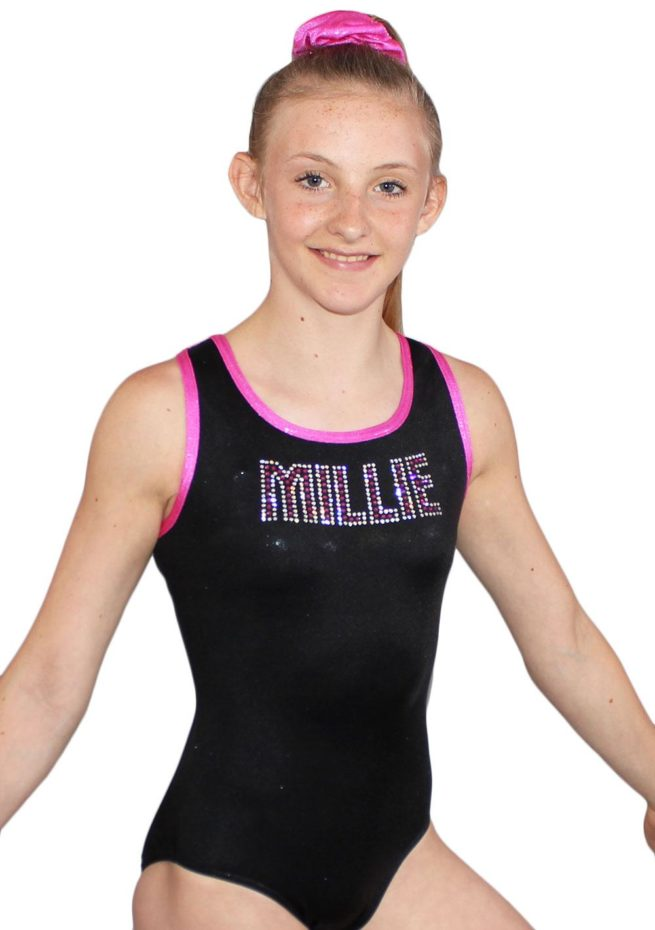 MILLIE Z156 Black and Pink Shimmer leotard with diamante name side