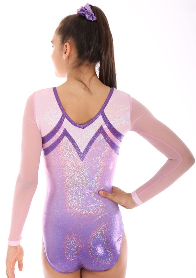 Maliya K456 gymnastics ombre competition leotard mesh leotards pink leo